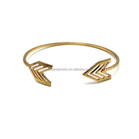 hollow out arrow metal cuff bangle