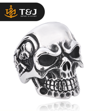 2015 fashion hot sale Punk Biker Jewelry Stainless Steel Rings For Man Big Tripple Skull Ring