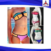 Hot Design Summer Bikini Swimwear Neoprene Bikini Geometric Swimsuit Bathsuit Triangle