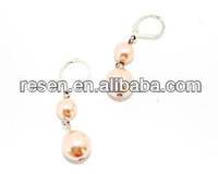 Cheap handmade female glass pearl drop earrings jewelry display