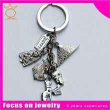 2014 promotional gift engraved key chain with a clock/charms clock shaped metal keychain