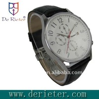 Stainless Steel Watch Swiss Made Genuine Leather Strap