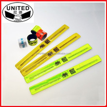 2015 Promotional Customized Logo PVC Reflective Slap Band/ Slap bracelets