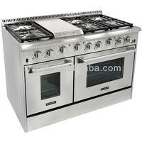 Stainless Steel indoor gas range 6 burner with bakery oven