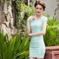 2015 Spring/summer fashionable crochet lace slim cut Qi-pao/Cheongsam short sleeves dress