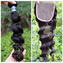 Sex virgin loose wave hair with lace closure, malaysian 7A natural color ombre hair extension lace closure