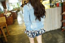 2015 spring new South Korean popular BF wind hole thin denim jacket short jacket