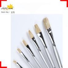 Profesional alta calidad de cerdas Art Brush para la pintura de aceite con mango de madera forma plana