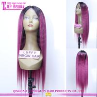 Direct factory purple color 100% real human hair lace wigs for small heads