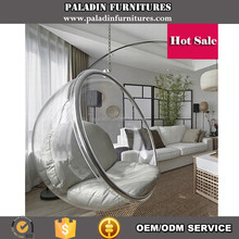 Replica Acrylic Hanging Bubble Chair , Industrial Silver Cushion