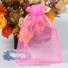 cheap personalized organza gift bags/pouch with logo ribbon