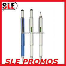 Multifunctional stylus touch Enigneer ballpen with screwdriver, spirit level and ruler