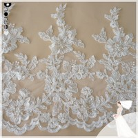 Beaded Lace Applique Custom Vintage China white bridal embroidery lace trimming DH-BL1661