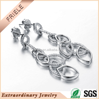 2015 irregular connect with oval shape design, wholesale 925 silver dangle earring jewelry