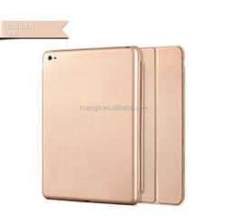 2015 new products Slim Magnetic Leather Smart Cover Hard Back Case for ipad air 2 leather case factory price