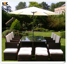 6 to 12 Seat BlackBrown mix weave with Cover & Parasol Armchairs Havannah Cube Set