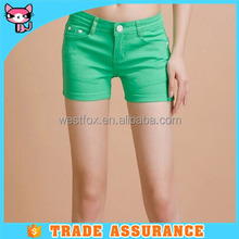 High quality green cotton tight shorts