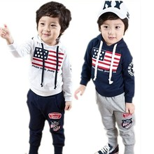 Fashion Boys Clothes Sets 2014 American Flag Design Kids Clothes