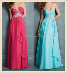 2015 Canada hot sale long strapless sweetheart nice beaded appliques elegant chiffon dresses for women prom