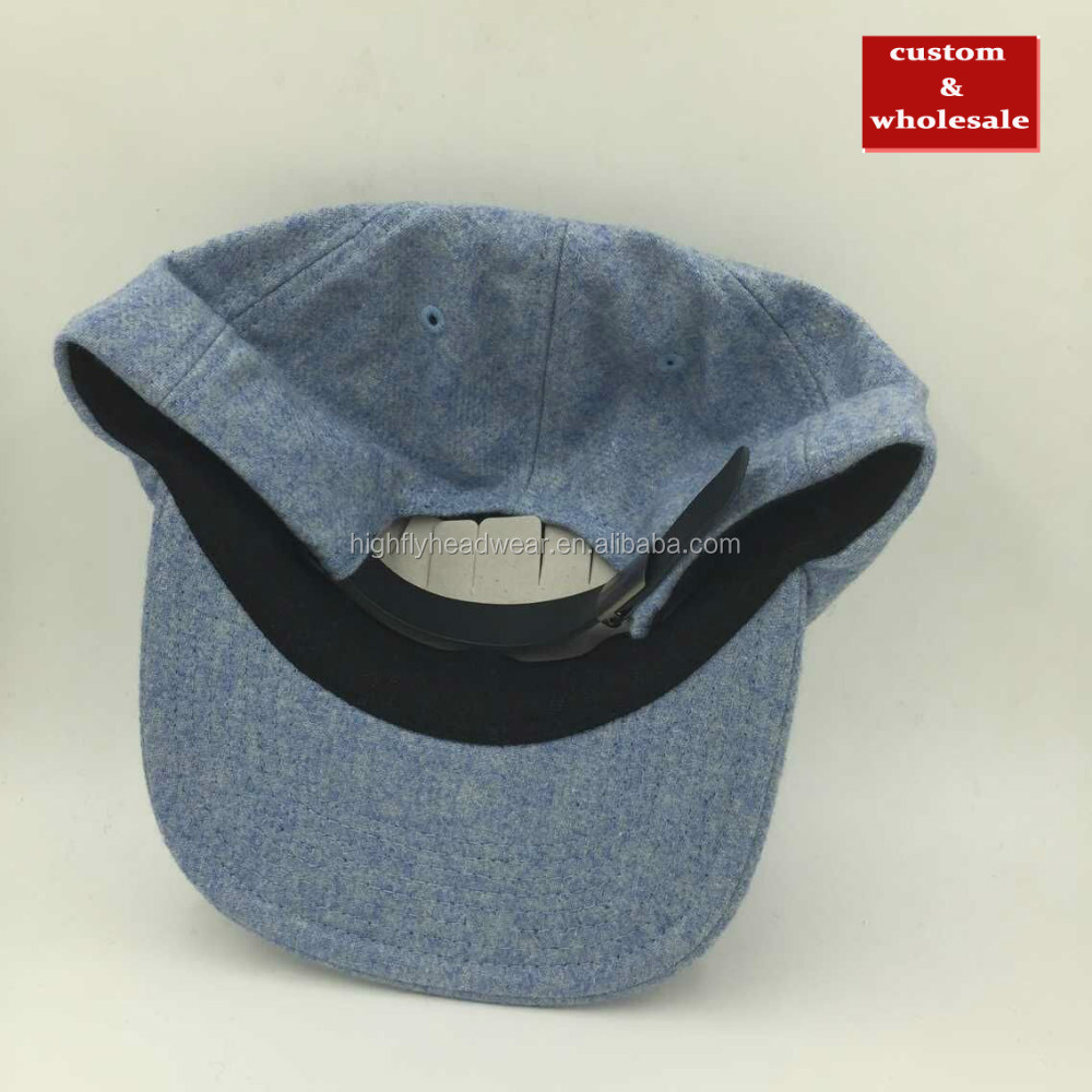 Mixed Wholes custom wool flannel blank plain unstructured six panel polo baseball  hats strapback cap and hat for wholesale c92ed231944
