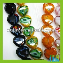 Millefiori glass heart beads CP085