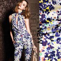 Fashion Printed mulberry silk elastic satin silk fabric for stretch silk dress wholesale