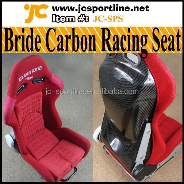 Fiber de carbone Auto mariée siège de course rouge tissu réglable sièges