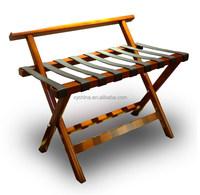 walnut solid wood luggage rack; 5 star hotel chair;black leather strips hotel luggage