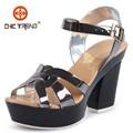 Sandalias romanas tacones pvc zapatos gelatina mujeres zapatos plástico con hebilla 2015