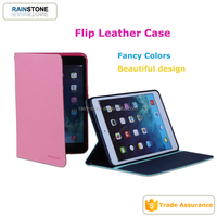 2015 hot sell fashion tablet leather case holder for iPad mini 4 flip cover PU material