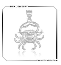 Pure 925 sterling silver gold Crab Charm Cancer Zodiac marine sea life animal theme Pendant for Necklace