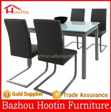 2015 new look home furniture foldable dining table with white glass table top and metal legs