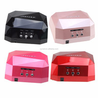 36W 110V 220V CCFL LED Nail Gel Lamp Dryer US Plug Diamond Shape Curing Nail Dryer Care Machine for UV Gel Nail Polish (Pink)