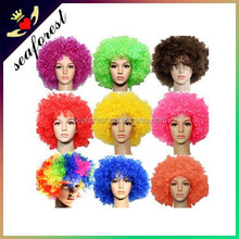 Explosion colorful Football Fan Wigs Curl mix color Party supplies Clown fancy dress wigs
