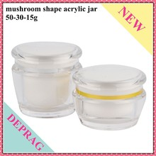2015 new mushroom cosmetic acrylic bottle,50g clear plastic cosmetic containers,30g plastic cosmetic jars containers