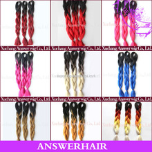 ultra braid expression/two tone kanekalon jumbo braiding hair/two colored jumbo braid 100 synthetic braid hair for stock