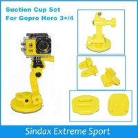 New 4 In 1 Yellow Suction Cup Mount Set For GoPros SJ4000 Accessories Suction Cup