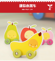 Children Small Fruit Toy Cars Kids Educational Toys Handmade Wooden Cars