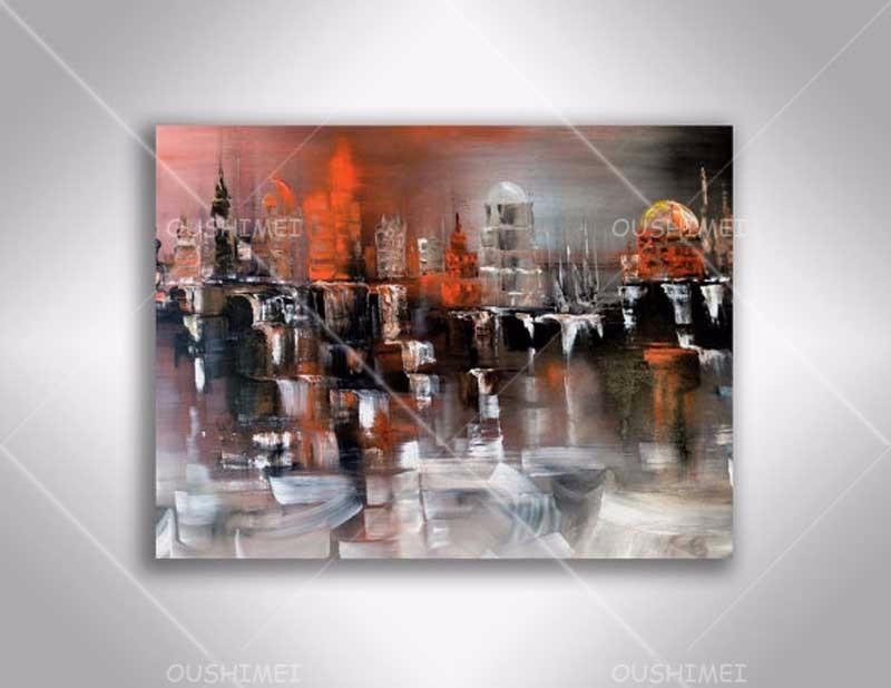 Peint la main abstraite moderne peinture l 39 huile sur for Peinture abstraite moderne