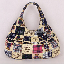 2015 cheap waterproof mummy/diaper canvas tote bag with bow-knot