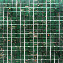Chip size 20x20mm dark green glass mosaic tile, swimming pool glass mosaic, bathroom wall tiles glass mosaic (BM-G08)