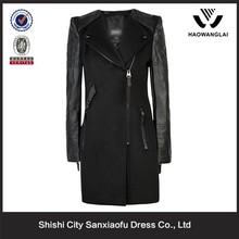 Women business suit coat slim long coat varsity jackets genuine leather sleeves