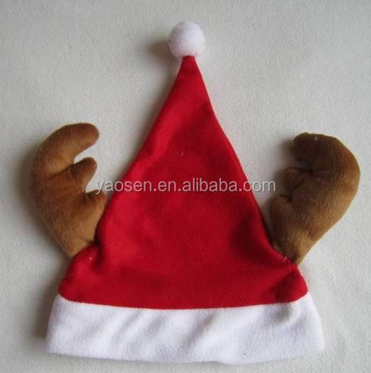 mini christmas santa hat headband with reindeer antler
