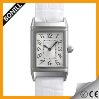 Fahion leather watch with square shaped watch men and women custom bezel japan movt quartz watch advance
