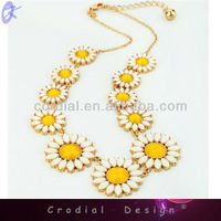 Fashion Design Trendy Statement Necklace New Arrival Yellow Summer Flower Bubble Bib Statement Necklace CDNL-307010