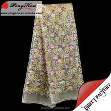 Mesh net tulle embroidery lace fabric with sequins
