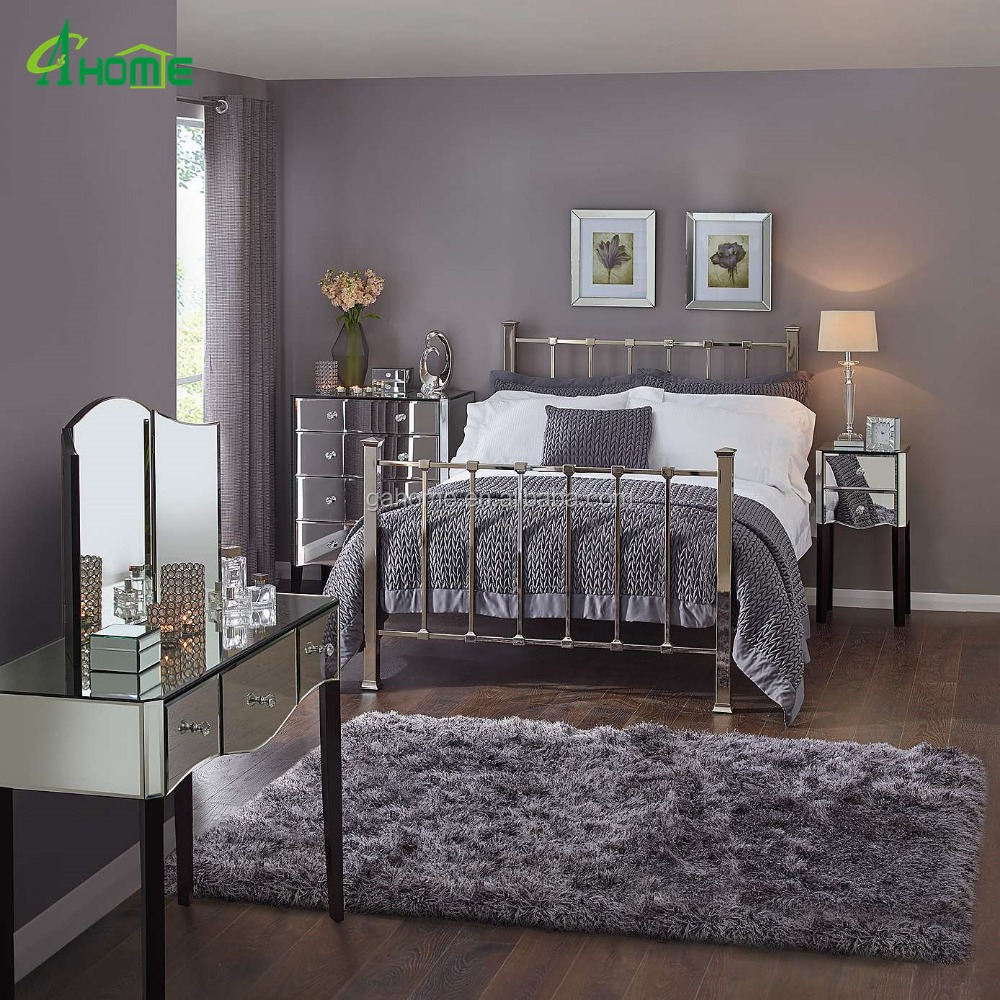 modern fashion bedroom interior decor mirrored furniture