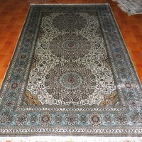 5x8ft Gray Silk Warehouse Popular Kerman handknotted carpet