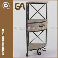 Metal and Wood Corner Plant Stand with Drawer for Indoor Use