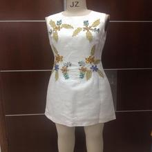 2015 white beaded free prom latest fashion dress